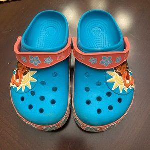 Size 11 blue Moana crocs